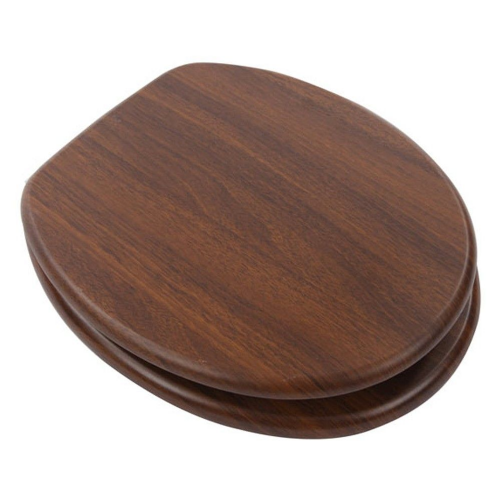 Mdf Mahogany Wood Toilet Seat With Chrome Plated Hinges